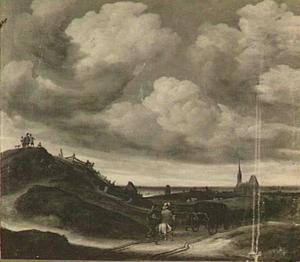 Duinlandschap met in de achtergrond de kerk van Zandvoort
