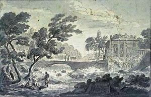 Landschap met rustende reizigers aan de oever van een rivier