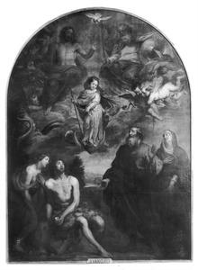 De Maagd Maria als kind door de H. Drieëenheid getoond aan haar ouders, Johannes de Doper en Maria Magdalena als de onbevlekt ontvangene