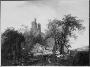 Landschap met landweg langs een ruïne en een boerderij; op de weg een boerenjongen en een herderin op een ezel met een kudde vee