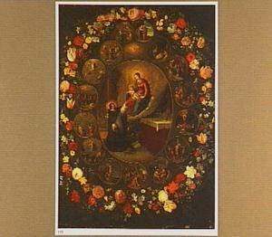 Bloemenkrans rond een voorstelling van de verschijning van de Madonna aan de H. Dominicus