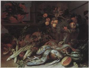 Stilleven van vissen, groente en vruchten