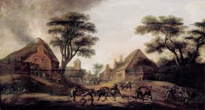 Soldaten plunderen een dorp, links een brandend huis