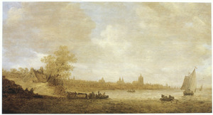 Rivierlandschap met veerpont; in de verte Arnhem