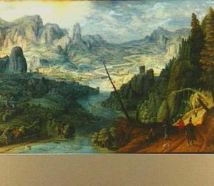 Panoramisch rivierlandschap met reizigers