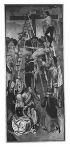 De kruisafneming (op de buitenzijde: de annunciatie: Maria)
