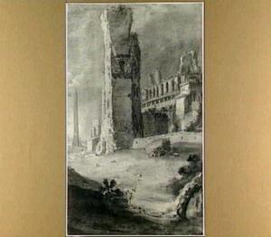 Landschap met Romeinse ruïnes (rechterhelft)