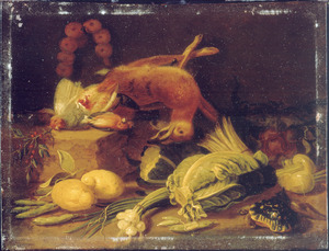Stilleven van jachtbuit en groenten met een schildpad terzijde