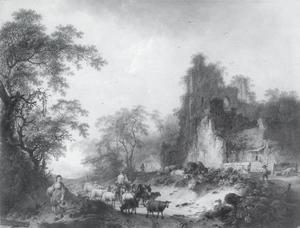 Landschap met een schaapherder en een ruïne