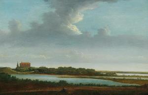 Panoramisch landschap met in het verschiet kasteel Plön in Sleeswijk-Holstein, gezien vanuit het zuidwesten