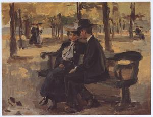 Een jonge vrouw en man in Bois de Boulogne, Parijs