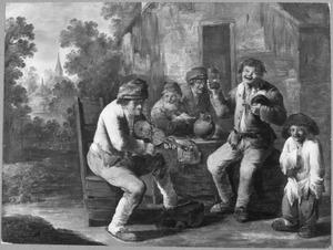 Drinkende en zingende boeren bij een vioolspeler voor een herberg