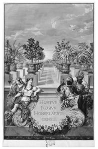 Titelpagina met personificaties van de vier werelddelen rond een cartouche, op de achtergond een terras met exotische planten in potten