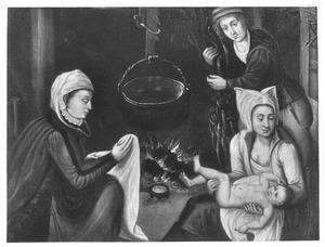 Twee vrouwen bij het haardvuur, een kind verzorgend