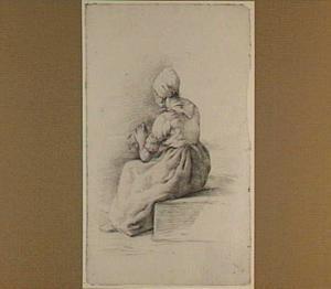 Zittende vrouw, op de rug gezien