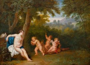 Venus in een boslandschap met spelende putti