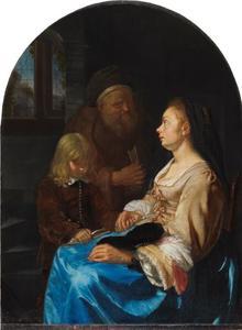 Zittende vrouw met naast zich een lezende jongen en een oude man met tulband