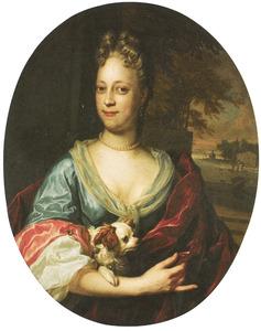 Portret van een onbekende vrouw met een hond