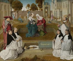 Vier reguliere kanunniken van St. Augustinus mediterend bij een geopend graf over de vergankelijkheid van het aardse bestaan in aanwezigheid van de HH. Hieronymus en Augustinus en Maria, die Elisabeth ontmoet