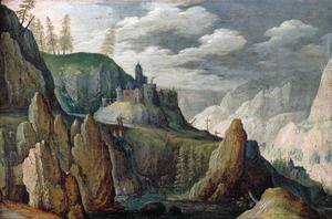 Rotslandschap met een kasteel