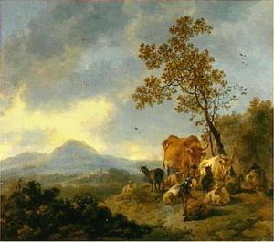 Berglandschap met koeien en herder