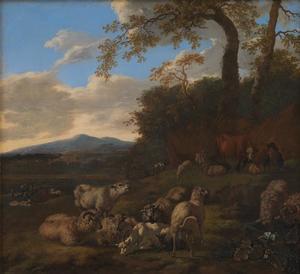 Landschap met een herder en zijn kudde