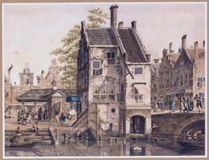 Capriccio van een Hollands stadsgezicht