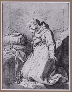 Kluizenares knielend voor een crucifix