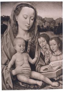 Maria met kind en twee engelen voor een landschap