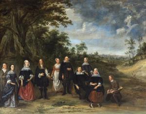Familieportret in de buitenlucht, met Brussel op de achtergrond
