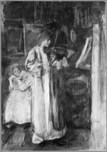 Vrouw speelt een viool in het schildersatelier