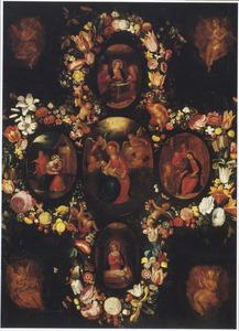 Bloemenkrans rond medaillons met episodes uit de jeugd van Christus