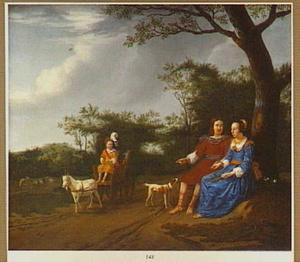 Portret van een familie in een landschap