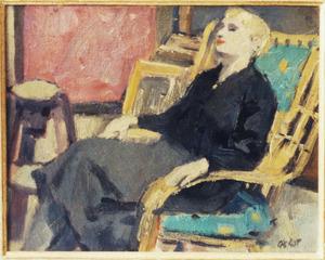 Portret van vrouw zittend in stoel (Mieke Peltenburg?)
