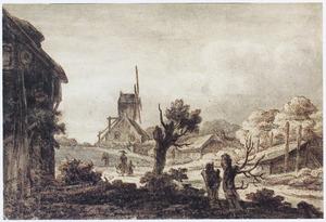 Dorpsgezicht met figuren op een pad en een molen