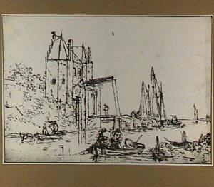 De Schalkwijkerpoort te Haarlem in een gefantaseerde omgeving