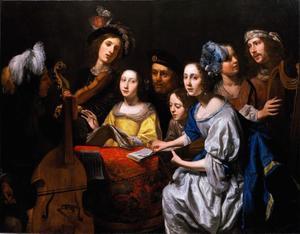Musicerend gezelschap om een tafel