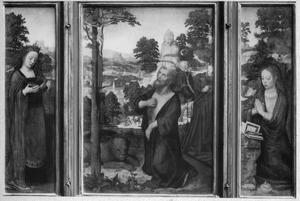 De H. Catharina (links), de boetvaardige Hiëronymus in de wildernis (midden), de H. Maria Magdalena (rechts)