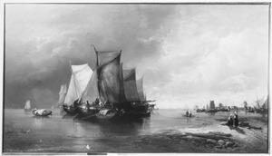 Rivierlandschap met op de achtergrond Dordrecht (1)