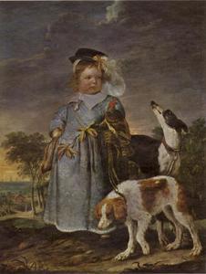 Portret van een jongetje met een valk en twee honden