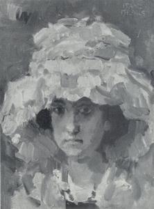Portret van een meisje met een grote hoed