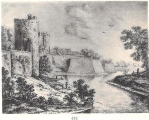 De Utrechtse stadswal met de waltoren ter hoogte van de Zilverstraat, de Bijlhouwerstoren en bastion Sterrenburg