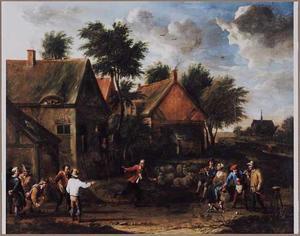 Landschap met een kegelende boeren bij een herberg