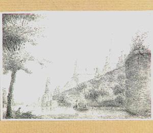 Het Arme Kinderhuis in Haarlem met stadswal en Singel tussen de Zijlpoort en de Pikmolen, naar het noorden gezien