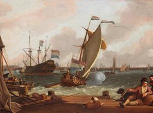 Zicht op het IJ met VOC schip 'Kattendyck', een statenjacht en andere schepen, met de haven van Amsterdam in de achtergrond