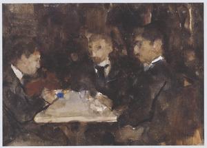 Drie heren in een café