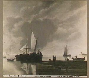 Twee binnenvarende zeilschepen strijken de zeilen