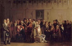 Ontmoeting van kunstenaars in de werkplaats van Jean-Baptiste Isabey