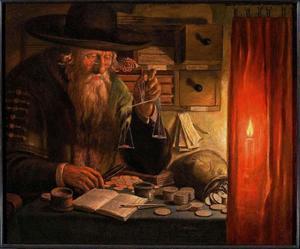 Oude man, munten wegend bij kaarslicht