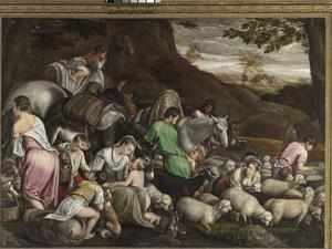 Jacob en de zijnen met al hun have en goed vluchten voor Laban naar Kanaan (Genesis 31:17-18)